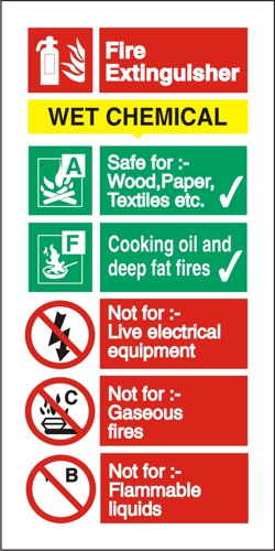 Stewart Superior Sign Wet Chemical Extinguisher Fire Safety Self Adhesive Vinyl W100xH200mm Ref FF100SAV