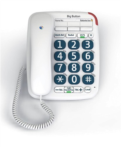 BT Big Button 200 Corded Telephone 13 Memories Handsfree Option White Ref 061130