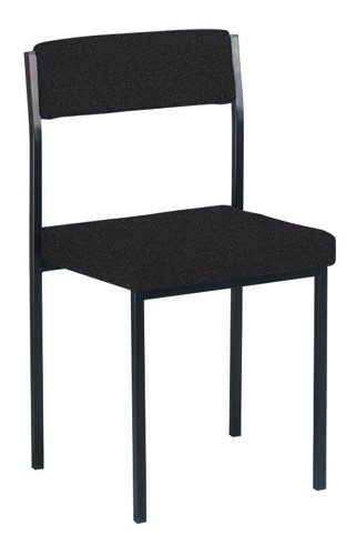 Trexus Side Chair Stackable Steel Frame Upholstered Seat W410xD410xH460mm Charcoal