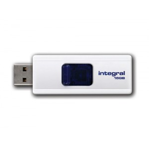 Integral Slide Flash Drive USB 2.0 Retractable 16GB White Ref INFD16GBSLDWH