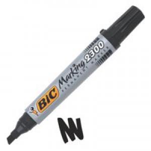 Bic Permanent Marker Chisel Tip 3-5.5mm Line Black Ref 300096 [Pack 12]
