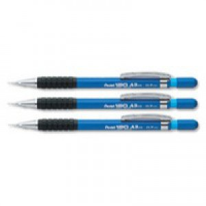 Pentel A300 Automatic Pencil with Rubber Grip and 2 x HB 0.7mm Lead Blue Barrel Code A317-C