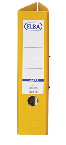 Elba Lever Arch File A4 Coloured Paper Over Board 80mm Spine Yellow Ref B1045708 [Pack 10]