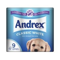 Andrex Toilet Rolls 2-Ply 240 Sheets Classic White Ref VKC4970125 [Pack 9]