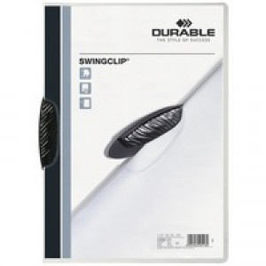 Durable Swingclip Folder Polypropylene Capacity 30 Sheets A4 Black Ref 2260/01 [Pack 25]