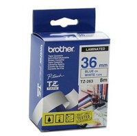 Brother P-touch TZE Label Tape 36mmx8m Blue on White Ref TZE263