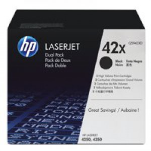 HP No.42X Laserjet Toner Cartridge Dual Pack Black Code Q5942XD
