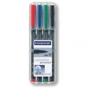 Staedtler Lumocolor Medium Tip Permanent Pen Wallet of 4 317-WP4