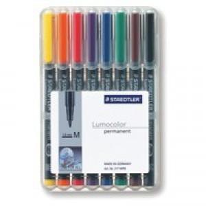 Staedtler 317 Lumocolor Pen Permanent Medium 1.0mm Assorted Ref 317WP8 [Wallet 8]