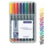 Staedtler 316 Lumocolor Pen Non-permanent Fine 0.6mm Line Assorted Wallet 8 Code 316WP8