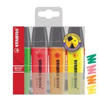 Stabilo Boss Highlighters Chisel Tip 2-5mm Line Assorted Ref 70/4 [Wallet 4]