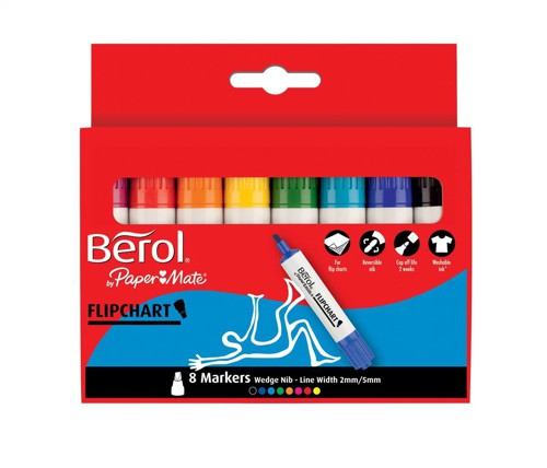 Berol Flipchart Markers Water-based Dry-safe Wedge Nib Assorted Ref S0377960 [Pack 8]