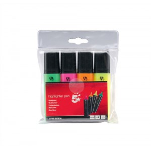 5 Star Office Highlighters Assorted Pk4