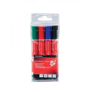 5 Star Permanent Marker Xylene/Toluene-free Smearproof Bullet Tip 2mm Line Assorted [Wallet 4]