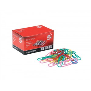 5 Star Paperclips Metal Large 33mm Assorted Colours [Pack 10x100]