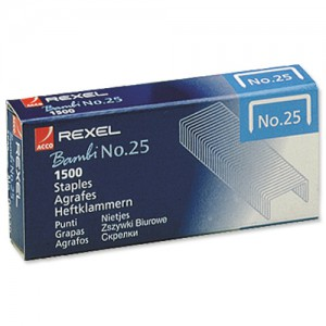 Rexel 25 Staples 4mm 05020 Bxd 1500