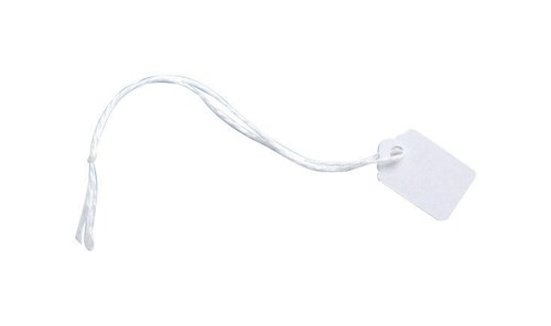 Ticket Labels Strung Durable 24x15mm White [Pack 1000]