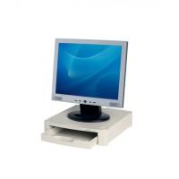 Image for Monitor Screen Riser 67mm Stackable 1 Drawer 15kg Load Grey