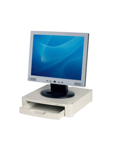 Monitor Screen Riser 67mm Stackable 1 Drawer 15kg Load Grey