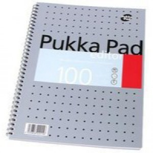 Pukka Pad Notebook Wirebound Editor 80gsm Ruled and Margin 4 Hole 100 Pages A4 Code EM003