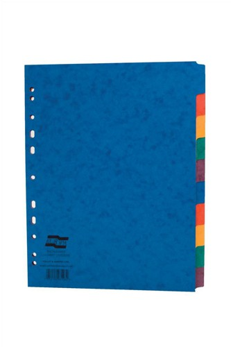 Europa Subject Dividers Pressboard 300 micron Europunched 10 Part A4 Wide Assorted Ref 3108Z [Pack 10]