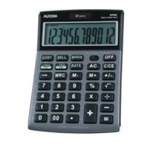Aurora Calculator Desktop Multifunction 12 Digit 3 Key Memory Tilted 101x150x23mm Ref DT661