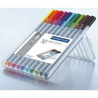 Staedtler Triplus Fineliner Pen Ergonomic Barrel 0.8mm Tip 0.3mm Line Assorted Ref 334 SB10 [Pack 10]