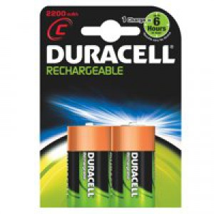 Duracell Battery Rechargeable Accu NiMH 2200mAh C Ref 81364720 [Pack 2]