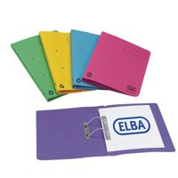 Elba Bright Transfer Spring File 315gsm Foolscap Assorted Ref 100090189 [Pack 10]
