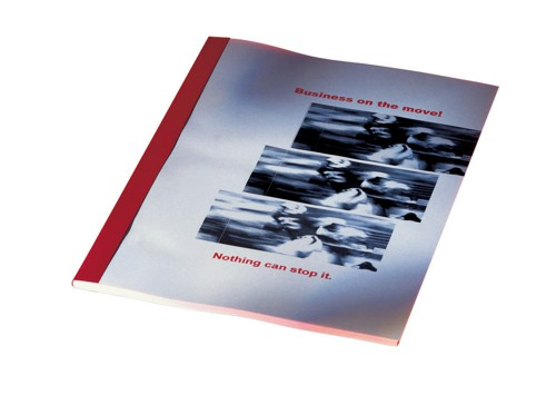 GBC Thermal Binding Covers 3mm Front PVC Clear Back Leathergrain A4 Red Ref 451218 [Pack 100]