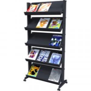 Literature Display Mobile Single Sided 5 Shelves 35mm Lip Black