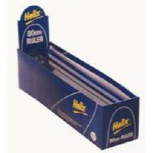 Helix Ruler Plastic Shatter-resistant 10ths 16ths/inch and Millimetres 300mm Blue Tint Code L16025