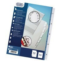 Elba Index Mylar-reinforced Europunched 1-5 Clear Tabs A4 White Ref 100204623
