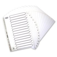 Elba Index Mylar-reinforced Europunched 1-15 Clear Tabs A4 White Ref 100204618