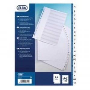 Elba White A4 Card Index Printed A-Z with Mylar Tabs