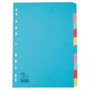 Elba Card Dividers Europunched 10-Part A4 Plus Extra Wide Assorted Ref 100080807