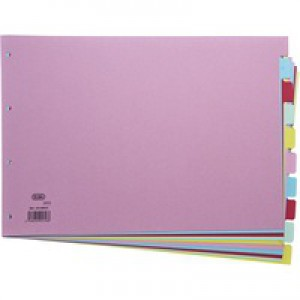Elba File Dividers 10-Part A3 240gsm Card Assorted