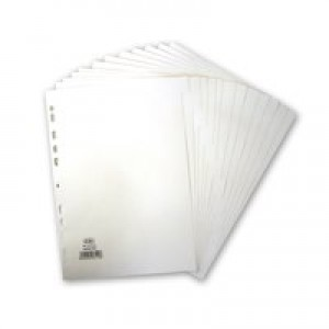Elba File Dividers 12-Part A4 White