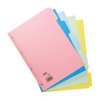 Elba Bright Card Dividers Europunched 5-Part A4 Assorted Ref 100204879