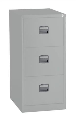 Trexus Filing Cabinet Steel Lockable 3-Drawer W470xD622xH1016mm Grey