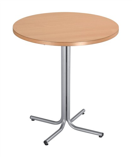 Trexus Cafe Table Round Silver-effect Frame Dia700xH755mm Beech