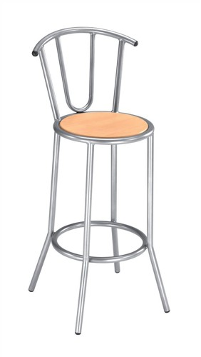 Trexus Cafe Bar Stool Silver-effect Frame with Back W350xD350xH800mm Silver and Beech