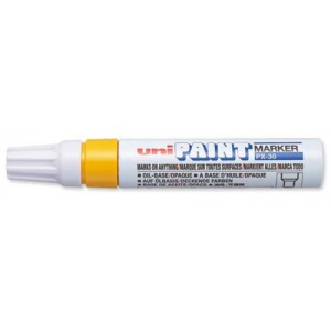 uni Paint Marker Chisel Tip Broad Point PX30 Line Width 4.0-8.5mm Yellow Ref 9001986 [Pack 6]