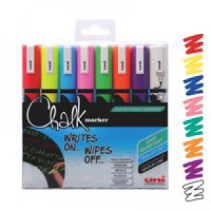 Uni Chalk Marker Medium Tip PWE-5M Assorted Pack 8 Code 5046670