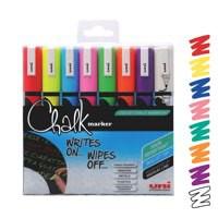 uni Chalk Marker Broad Bullet Tip PWE-5M Line Width 1.8-2.5mm Assorted Ref 5046670 [Wallet 8]