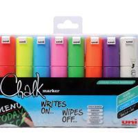 uni Chalk Marker Broad Chisel Tip PWE-8K Line Width 8mm Assorted Ref 5046762 [Wallet 8]