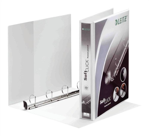 Leitz Softclick Presentation Ring Binder Polypropylene 4 D-Ring 40mm A4 White Ref 42030001 [Pack 4]
