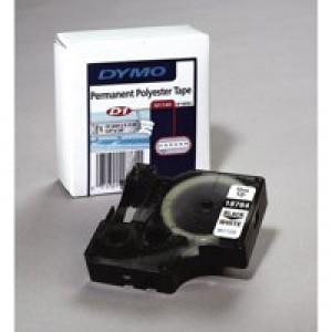 Dymo D1 Tape For Labelmaker Polyester Permanent 12x5.5mm Black On White Code S0718060
