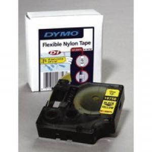 Dymo D1 Tape For Labelmaker Nylon Flexible 12x3.5mm Black On White Code S0718040