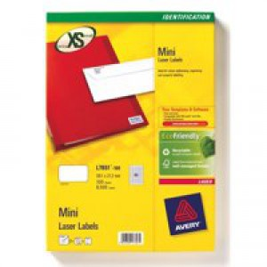 Avery Mini Labels Inkjet 40 per Sheet 45.7x25.4mm White Ref J8654-25 [1000 Labels]